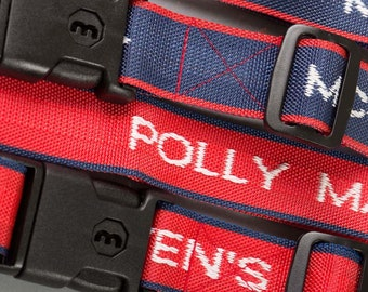Woven Luggage Straps Personalised with Name, high quality woven webbing - Now with Key & Lock