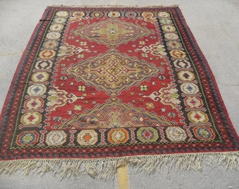"Turkish Kilim rug, large rug, vintage rug, 98"" x 120"", red rug, area rug, Kilim rug, Vintage rug, kelim rug, vintage bohemian rug, eccentric"