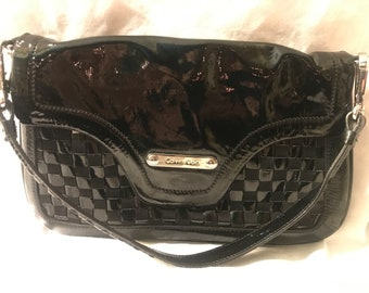 Calvin Klein Handbag, black, woven, patent leather