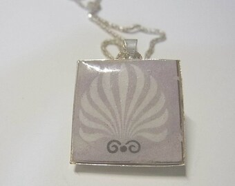 pendant, brushed silver or art deco on grey reversible necklace