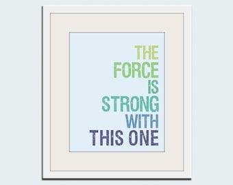 Star Wars print typography art baby nursery art print. Art for kids, children art, nursery wall art, The Force is Strong print