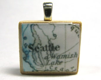 Seattle - 1875 vintage Scrabble tile map pendant