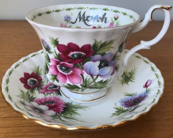 "Royal Albert ""Anemones"" March Flower of the Month Series Vintage Teacup and Saucer, Purple Pink Flower Tea Cup & Saucer, English Bone China"