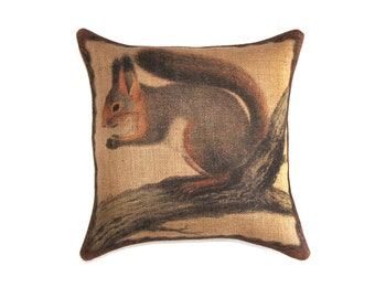 Squirrel Pillow, Burlap Throw Pillow, Decorative, Rustic