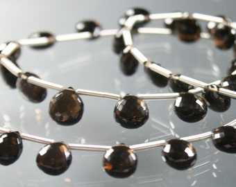 AAA Smoky Smokey Quartz Micro Faceted Heart Briolettes 7mm - 9mm