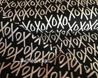 TheFabricEdge- Yes Please XoXo, Hugs and Kisses, Black and White, Riley Blake, Fabric by the Yard, BTY,  Cotton, The Fabric Edge