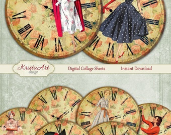 75% OFF SALE Time for the ladies - Digital Collage Sheet - Digital cards C138 printable download retro tags digital round image atc card