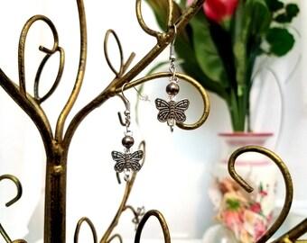 Beaded Silver Butterfly Earrings by Anne O'Brien Design / Silver Toned Wire Earrings/ Butterflies