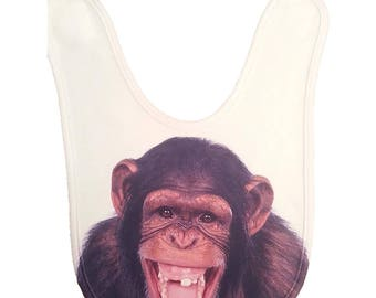 Monkey infant Baby Bib - Hand Printed in USA - Monkey Gifts | Funky infant Bibs | Crazy Baby Bibs | Funny Baby Bibs  | Infant, Baby, Toddler
