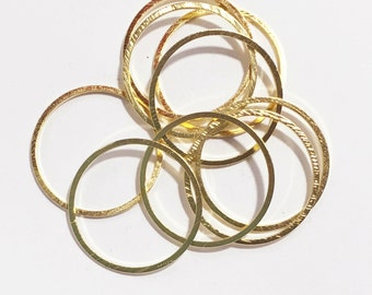 Gold plated brass round connector rings 20mm, 1mm thick