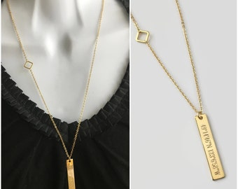 Coordinate necklace gold bar jewelry layering necklace gift for her graduation gift secret message necklace inspiration jewelry mom gift