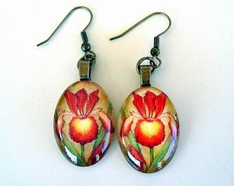 Spuria Iris Jewelry Earrings  Maroon Red and Yellow Antique Brass Oval Art Glass Strike Zone Iris