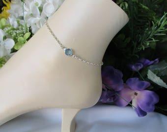 Something Blue Bridal Anklet-Sterling Silver Anklet-Aquamarine Birthstone-Aquamarine Anklet-March Birthstone Jewelry-March Birthstone Anklet