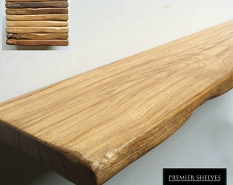 """Rustic Floating Shelves in Solid Oak - 8"""" (20cm) Deep Up To 7ft Long (1.5"""" thickness), Range of Colours (Concealed Fixings Included)"""