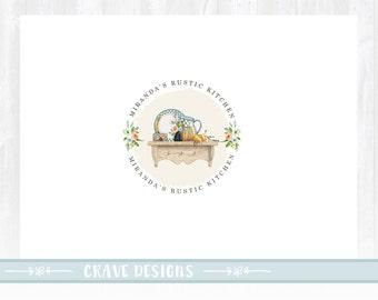Kitchen logo design, rustic kitchen, farm logo, food logo design, food blog logo, restaurant logo, watercolor logo,watermark