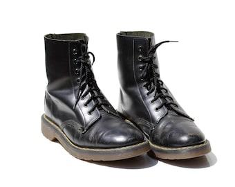 Men's Black Leather Lace Ankle Boots / size 8