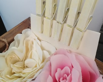 Pale yellow distressed clothespins set of 50