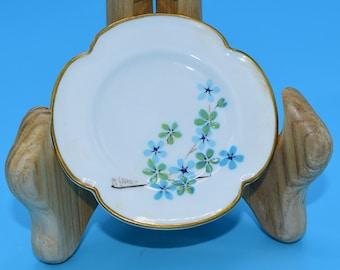 Caverswall Clover Shaped Butter Pat Plate Vintage Blue Green Floral Butter Pat Artist Signed Clover Trinket Dish Ring Holder Gift for Her