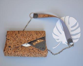 Triple bag flap WANGARI heavenly shoulder multi storage / Ideal day evening / Cork glitter white / gift birthday Christmas