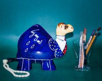 "9""/23cm Ceramic Camel ""Business"" Statue Turov Art Pottery Collectible"