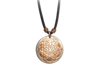 Seed of Life Necklace. Sacred Geometry Necklace. Etched Coin Necklace. Etched Quarter. Pine charm. Pine necklace