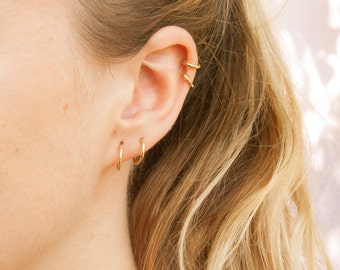 9ct gold hoops - small gold hoops - gold hoop earrings - small hoop earrings - hoop earrings - gold hoops - tiny hoop  - cartilage - B2Y9
