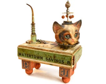 assemblage art, mixed media, cat, turtle, sculpture, found object, one of a kind, original artwork, vintage tin, clock parts, industrial