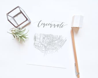 Calligraphy 'Hood Maps: Cincinnati, Ohio
