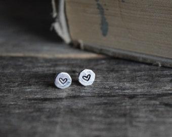 Silver Heart Earrings, Heart Studs, Valentines Day Gift, Valentines Day Earrings, Friendship Earrings, Love Earrings, Gift for Daughter