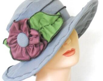 Organic Hemp Cotton Jersey Travel Sun Hat- Charcoal