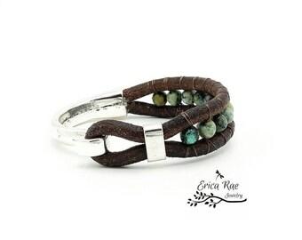 African turquoise gemstone beaded leather wrap cuff bracelet, boho jewelry