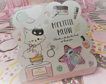 50 Pc. Kawaii sticker flakes My Little Meow  cute planner stickers, scrapbooking, Snail Mail, Pen pal, School, Stationery, Cell phone.
