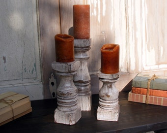 Balustrade Candlesticks (set of 3) Short Handcrafted Shabby White