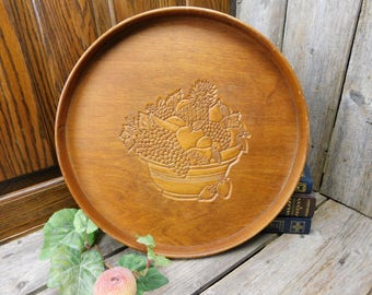 Vintage Round Wood Serving Tray - Fruit Bowl