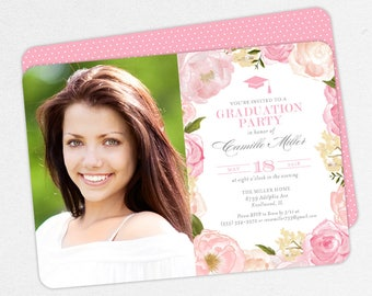 Graduation Invitation, Photo Graduation Invitation, Graduation Announcement, Printable, PDF, DIY, Watercolor, Flower, Pink, Elegant, Camille