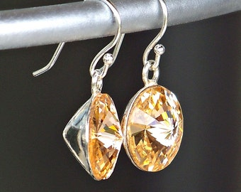 Vibrant Peach Crystal and Sterling Silver Dangle Earrings