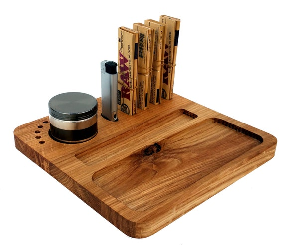 Rolling Tray. Weed Grinder Stoner Gift SetSolid Oak Deluxe