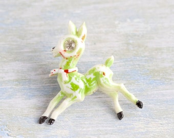 Running Deer Lapel Pin - Little Bambi Brooch - Antique Celluloid - Retro Christmas Jewelry