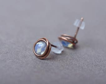 moonstone studs moonstone earrings post earrings stud earrings copper bridesmaid earrings gemstone earrings moonstone jewelry gift for women