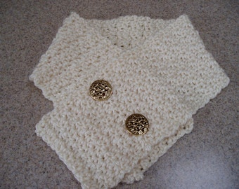 Woman's Crocheted Scarflette in Cream with Gold Buttons