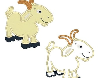 Billy Goat  Embroidery Designs Applique Instant Download Embroidery Designs Goats 4X4 5X7 6X10 8X8 Pes Vp3 Farm Animal