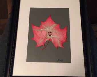 """Excited Weirwood Leaf, Acrylic on a Sycamore Leaf 11 1/2""""X 9 1/2"""""""