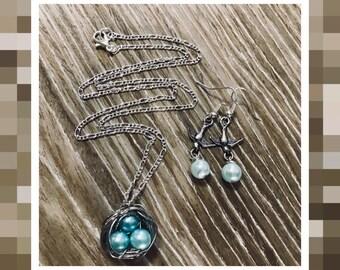 Pearl Egg Bird Nest Necklace Set