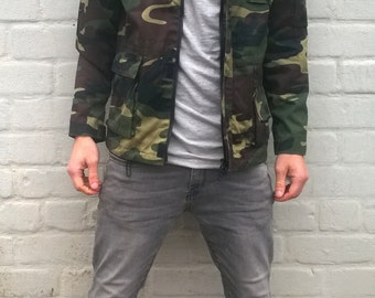 Olive green military jacket, khaki winter army jacket, camouflage coat, Finland hunting jacket, nordic outdoor jacket, military uniform, S/M