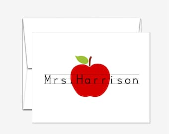 Personalized Stationery - Apple for Teacher - Folded Note Cards