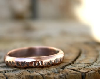 Mens Rustic  Thick 4mm Copper Ring, Bold Sturdy Copper Ring, For Him, Copper Wedding Band