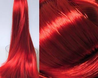 METALLIC RUBY red High Sheen Nylon Doll Hair for Custom OOAK/Rerooting