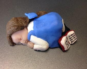 "OOAK 2.5"" Belle Beauty and the Beast Sleeping Baby Polymer Clay Cake Topper Keepsake Figurine Gift"