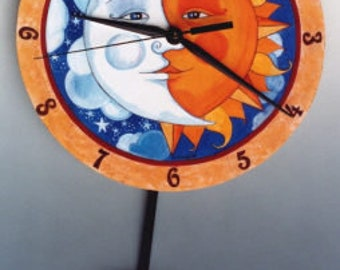 Eclipse Celestial Pendulum Sun and  half Moon clock wall decor with signs of the Zodiac