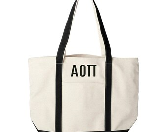 Alpha Omicron Pi Large Canvas Tote Bag,  Alpha Omicron Pi Beach Bag, Alpha Omicron Pi College Book Bag, Alpha Omicron Pi Tote